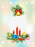 Spruce branches with candles, candy and golden bell. Christmas card template