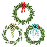 Set of christmas wreaths.
