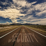 Conceptual Image of Road With the Word Security