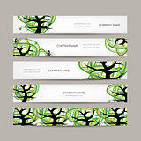 Set of horizontal banners with green tree