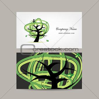 Business card design, green tree