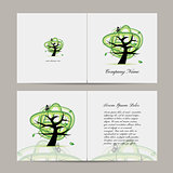 Greeting card with green tree