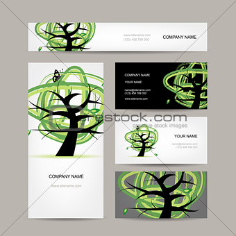 Business cards design, green tree