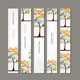 Set of vertical banners with floral tree