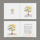 Greeting card with floral tree