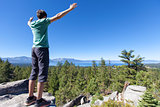 man hiking at tahoe