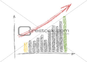Growing graph hand drawing with arrow isolated on white