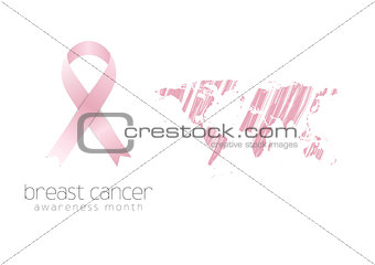Breast cancer awareness pink ribbon and grunge map
