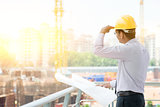 Asian Indian male site contractor engineer on site