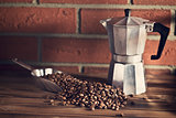 coffee beans on wooden table