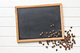 chalkboard and coffee beans