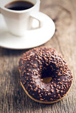 chocolate donuts and coffee
