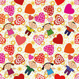 Seamless Background, Children and Hearts