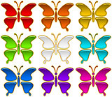 Colorful Buttons Set, Butterflies