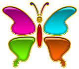 Button, Colorful Butterfly