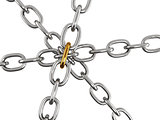 Six metal chains joined together golden link
