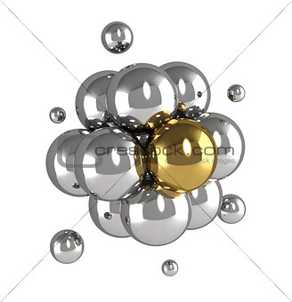 Molecular model of silver and golden metal