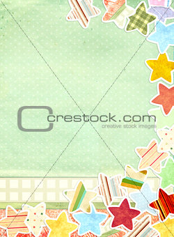 Grunge background with paper stars