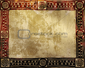Grunge background with American Indian ethnic patterns