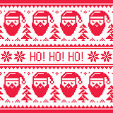 Christmas seamless red pattern with Santa and snowflakes