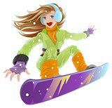 Snowboarding. Beautiful young happy girl on snowboard