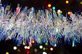 Christmas garland against lights