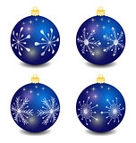 isolated blue vector christmas balls