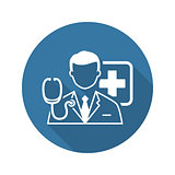 Doctor Consultation Icon. Flat Design.