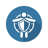 Life Insurance and Medical Services Icon. Flat Design.