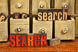 search word concept in wood type