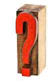 question mark in wood type