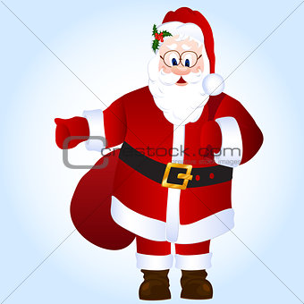 Cartoon Santa Claus with bag with gifts