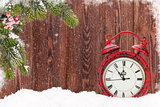 Christmas fir tree and alarm clock