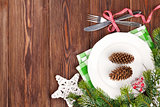 Christmas table setting with fir tree