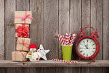 Christmas gift boxes, decor and alarm clock