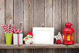 Christmas candle lantern, photo frame and decor