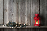 Christmas candle lantern and lights