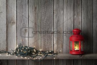 Christmas candle lantern and lights