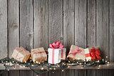 Christmas gift boxes and lights