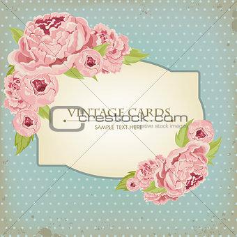 Beautiful card with peonies
