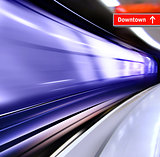 train with motion blur moves in subway