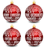 christmas balls with four languages