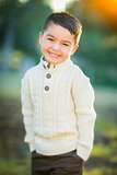 Young Mixed Race Boy Portrait Outdoors