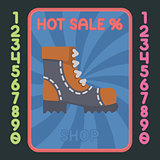 Leather boot flat design icon. Vector hot sale label.