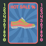 Sport shoe flat design icon. Vector hot sale label.