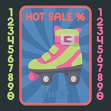 Rollerskate boot flat design icon. Vector hot sale label.