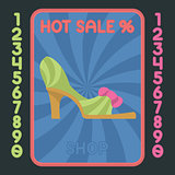 High heel shoe flat design icon. Vector hot sale label.