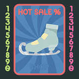 Figure-skating boot flat design icon. Vector hot sale label.