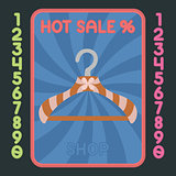 Hanger flat design icon. Vector hot sale label.