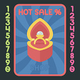 Heart box with ring flat design icon. Vector hot sale label.